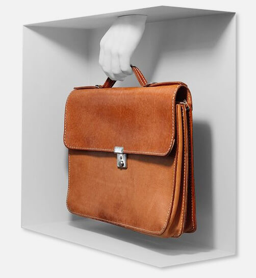 invisible hand holding document bag